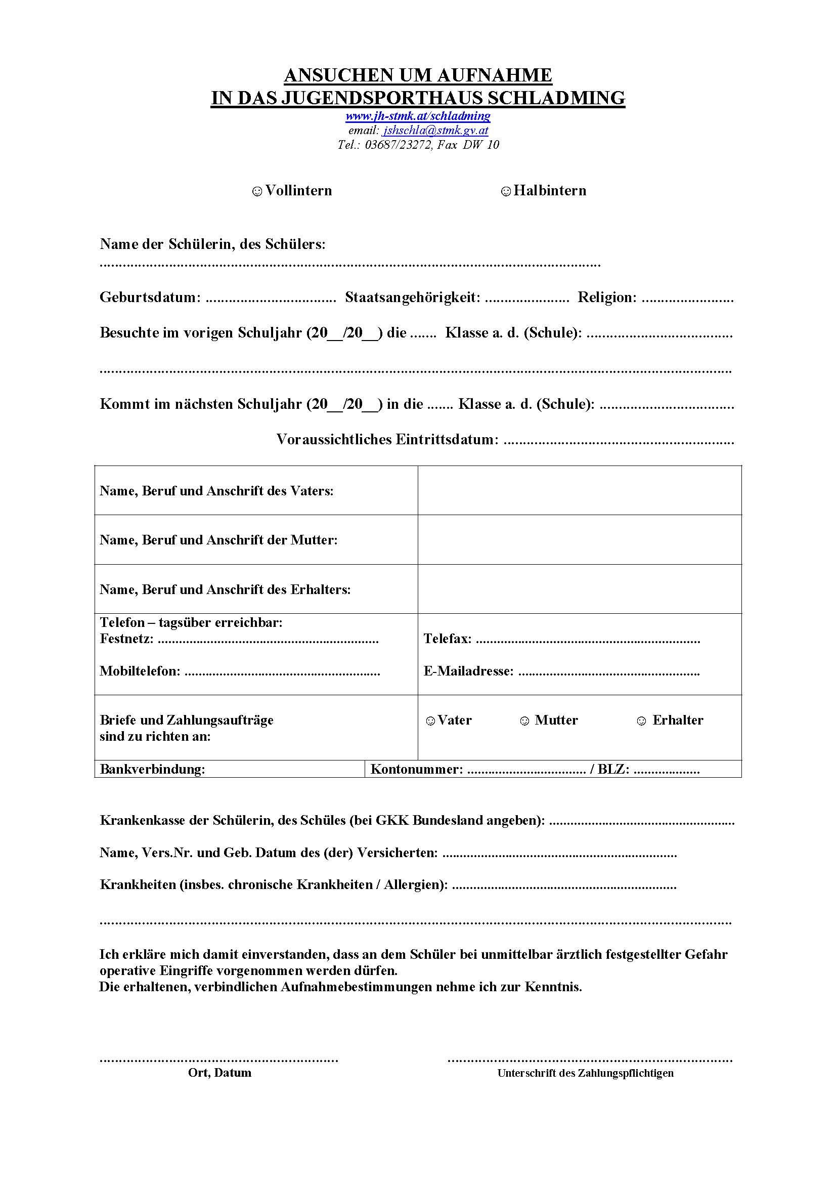 Anmeldung und Downloads - Jugendsporthäuser Steiermark - Land Steiermark